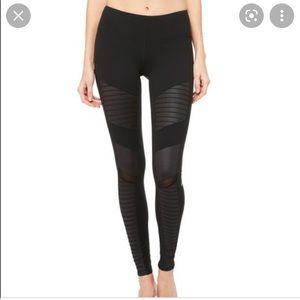 ALO Yoga Black High Waist Moto Style Leggings Mesh Accents Size XS Stretch